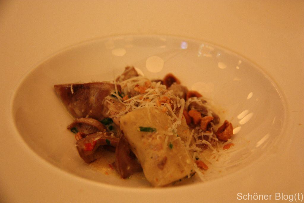 Potato gnocchi, wild mushrooms, tarragon and hazlenuts