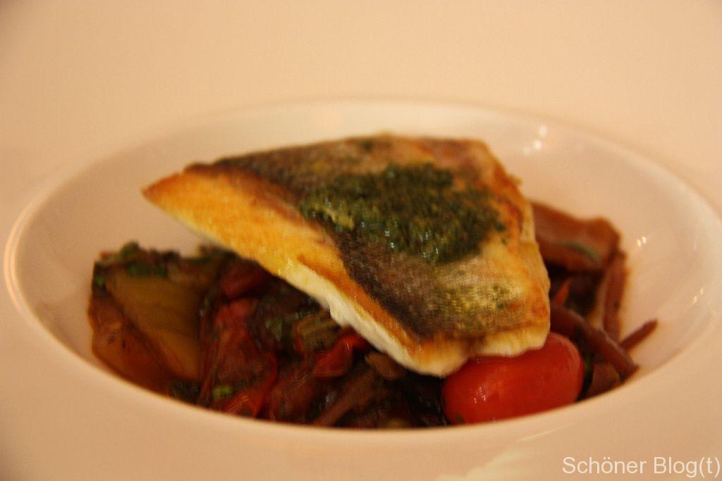 Sea bass with peperonata and salmoriglio
