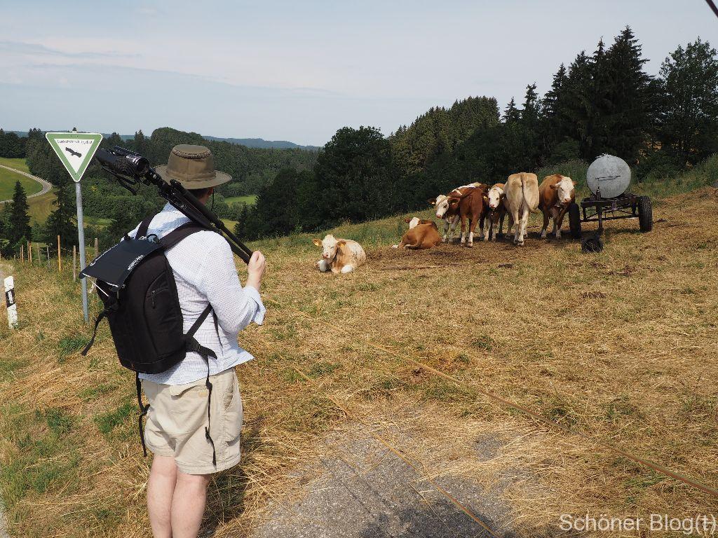 Der Mann folgt Frau Nessy in jeglicher Hinsicht - bei ihm ist es Leinenhemd gepaart mit kurzer Hose. Auf dem Rücken sein Kamerarucksack mit einem Solarpanel gepimpt.