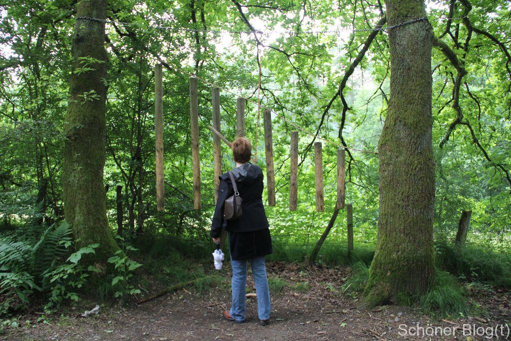 EIn Holzxylophon auf dem Holzerlebnispark